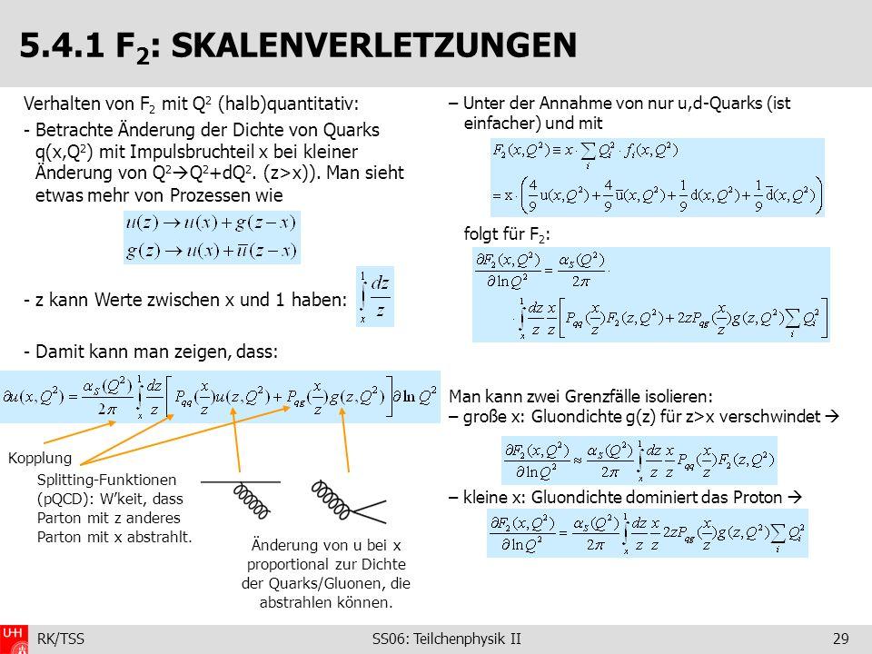 RK/TSS SS06: Teilchenphysik II29 5.4.1 F 2 : SKALENVERLETZUNGEN – Unter der Annahme von nur u,d-Quarks (ist einfacher) und mit folgt für F 2 : Man kan