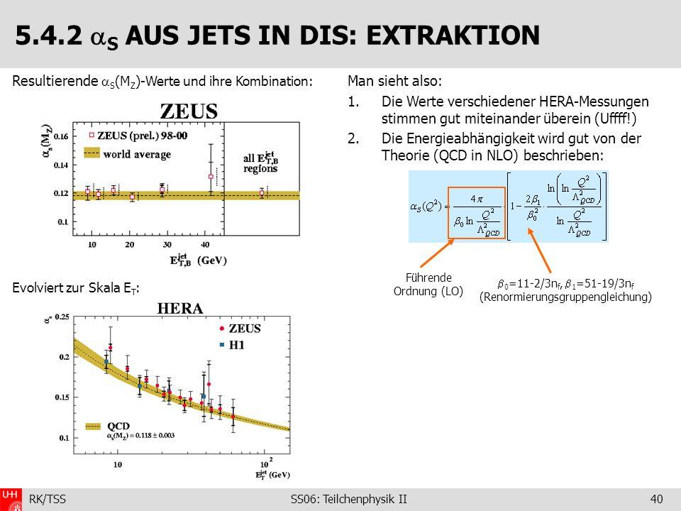 RK/TSS SS06: Teilchenphysik II40 Man sieht also: 1.Die Werte verschiedener HERA-Messungen stimmen gut miteinander überein (Uffff!) 2.Die Energieabhäng