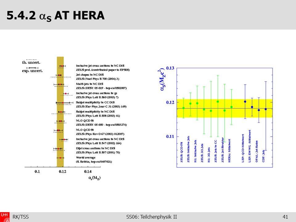 RK/TSS SS06: Teilchenphysik II41 5.4.2 S AT HERA
