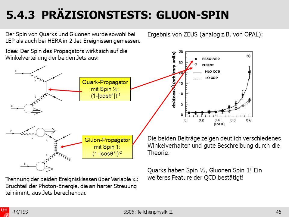 RK/TSS SS06: Teilchenphysik II45 Der Spin von Quarks und Gluonen wurde sowohl bei LEP als auch bei HERA in 2-Jet-Ereignissen gemessen. Idee: Der Spin