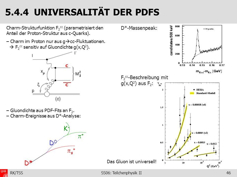 RK/TSS SS06: Teilchenphysik II46 D*-Massenpeak: F 2 cc -Beschreibung mit g(x,Q 2 ) aus F 2 : 5.4.4 UNIVERSALITÄT DER PDFS Charm-Strukturfunktion F 2 c