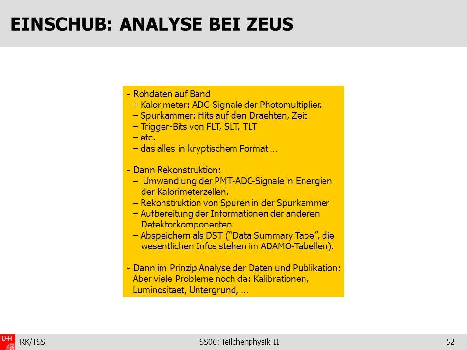 RK/TSS SS06: Teilchenphysik II52 EINSCHUB: ANALYSE BEI ZEUS - Rohdaten auf Band – Kalorimeter: ADC-Signale der Photomultiplier. – Spurkammer: Hits auf
