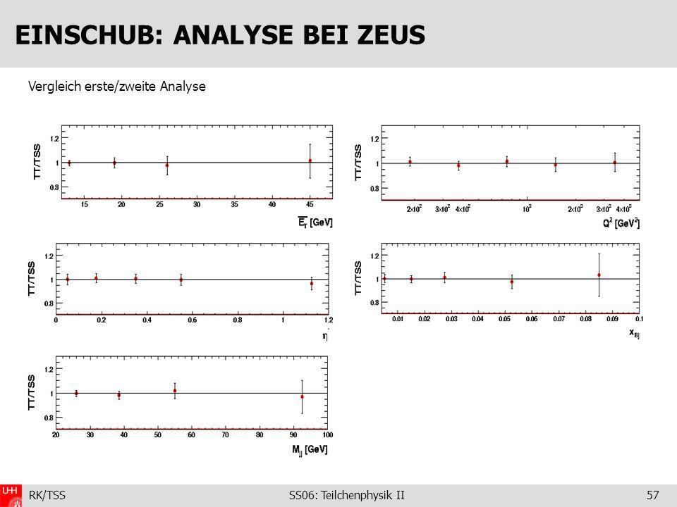 RK/TSS SS06: Teilchenphysik II57 EINSCHUB: ANALYSE BEI ZEUS Vergleich erste/zweite Analyse