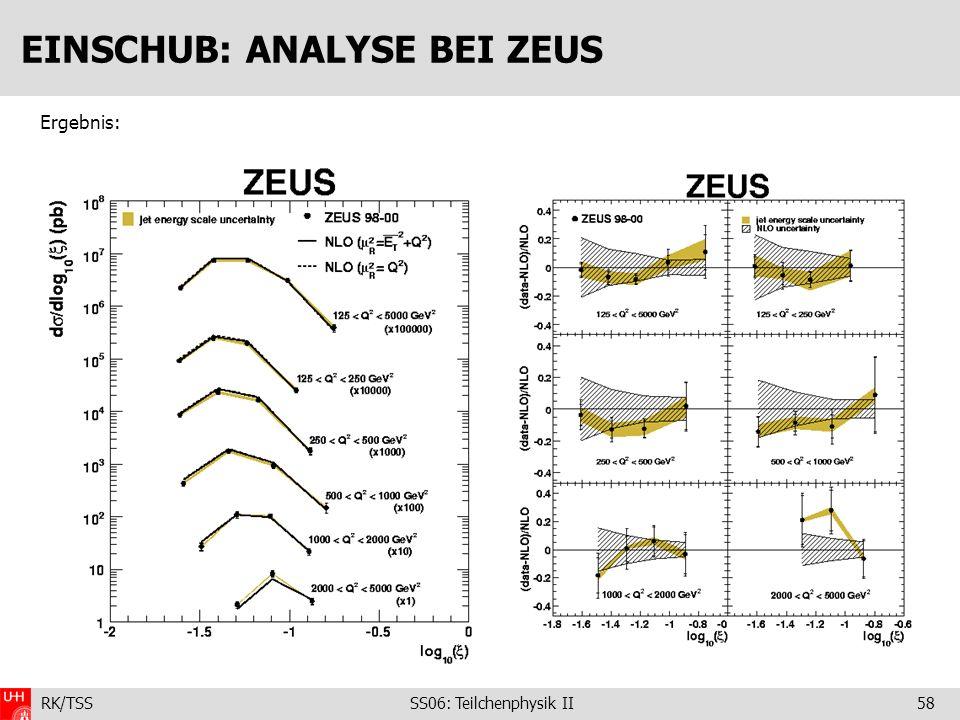 RK/TSS SS06: Teilchenphysik II58 EINSCHUB: ANALYSE BEI ZEUS Ergebnis: