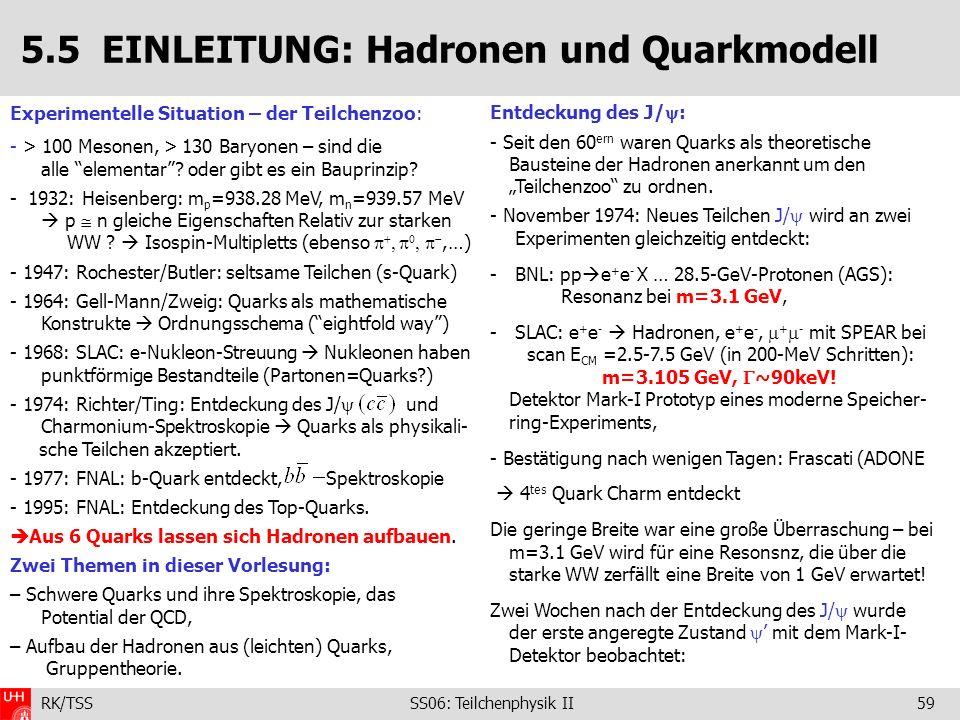 RK/TSS SS06: Teilchenphysik II59 Entdeckung des J/ : - Seit den 60 ern waren Quarks als theoretische Bausteine der Hadronen anerkannt um den Teilchenz