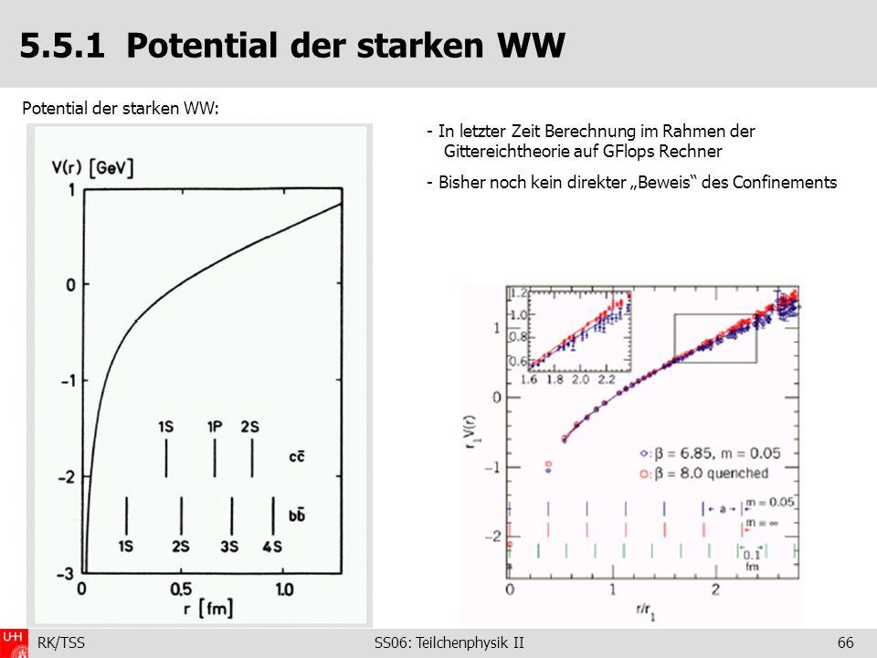 RK/TSS SS06: Teilchenphysik II66 5.5.1 Potential der starken WW Potential der starken WW: - In letzter Zeit Berechnung im Rahmen der Gittereichtheorie