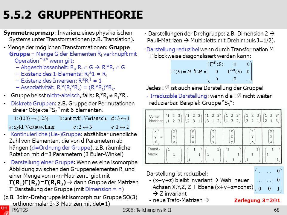 RK/TSS SS06: Teilchenphysik II68 Darstellung reduzibel wenn durch Transformation M blockweise diagonalisiert werden kann: Jedes (i) ist auch eine Dars