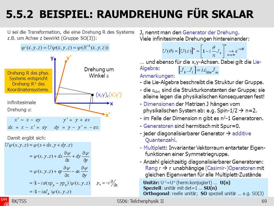 RK/TSS SS06: Teilchenphysik II69 J z nennt man den Generator der Drehung. Viele infinitesimale Drehungen hintereinander: … und ebenso für die x,y-Achs