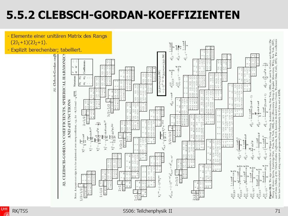 RK/TSS SS06: Teilchenphysik II71 5.5.2 CLEBSCH-GORDAN-KOEFFIZIENTEN - Elemente einer unitären Matrix des Rangs (2J 1 +1)(2J 2 +1). - Explizit berechen