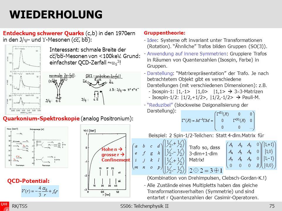 RK/TSS SS06: Teilchenphysik II75 Gruppentheorie: - Idee: Systeme oft invariant unter Transformationen (Rotation). Ähnliche Trafos bilden Gruppen (SO(3