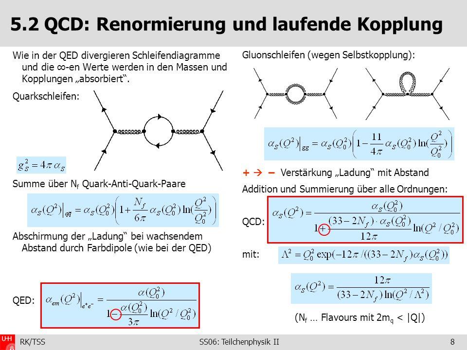 RK/TSS SS06: Teilchenphysik II9 5.2 QCD: Laufende Kopplung – perturbative QCD für Q 2 (» 2 ) S 0: Asymptotische Freiheit (1972 - D.Green, D.Politzer, F.Wilczek Nobelpreis 2004) da r =c /|Q| entspricht großes Q kleinen Abständen perturbative QCD – Störungstheorie anwendbar, (ein Gluon-Austausch mit m g =0 Coulomb V~1/r) Präzisionstests der starken Kraft möglich (mehr später) S Messung in e + e WW: 0.2 GeV 0.2 GeV