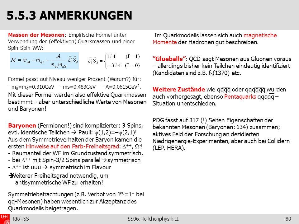 RK/TSS SS06: Teilchenphysik II80 Massen der Mesonen: Empirische Formel unter Verwendung der (effektiven) Quarkmassen und einer Spin-Spin-WW: Formel pa