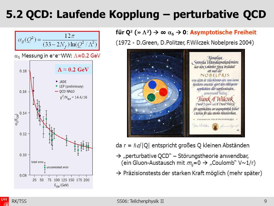 RK/TSS SS06: Teilchenphysik II60 5.5 Übersicht: Eigenschaften der Quarks Quarks: Spin: ½, A (Barionenzahl): +1/3, Parität: P = +1 Antiquarks: Spin: ½, A (Barionenzahl): -1/3, Parität: P = -1 Quark *) duscbt Ladung/e-1/3+2/3-1/3+2/3-1/3+2/3 I3I3 -1/2+1/20000 Seltsam.00000 Charm(Ch)000+100 Bottom00000 Top (To)00000+1 nackte Masse **) ~.008 GeV ~.004 GeV ~0.15 GeV ~1.1 GeV ~4.2 GeV ~175 GeV Masse im Hadron **) ~.344 GeV ~0.340 GeV ~0.51 GeV ~1.5 GeV ~4.7 GeV *** ) *) additive Quantenzahlen ändern das Vorzeichen Quarks Antiquarks **) modellabhängig ***) Lebensdauer so kurz (schwacher Zerfall!), dass es keine gebundenen Zustände gibt