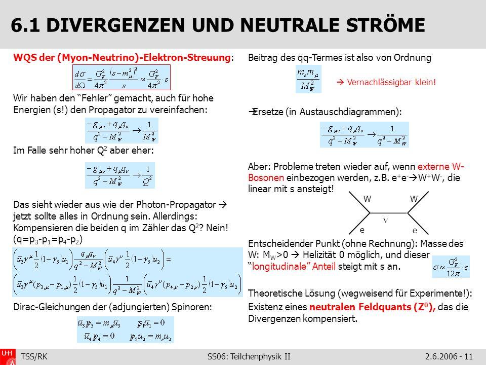 TSS/RK SS06: Teilchenphysik II2.6.2006 - 11 WQS der (Myon-Neutrino)-Elektron-Streuung: Wir haben den Fehler gemacht, auch für hohe Energien (s!) den Propagator zu vereinfachen: Im Falle sehr hoher Q 2 aber eher: Das sieht wieder aus wie der Photon-Propagator jetzt sollte alles in Ordnung sein.