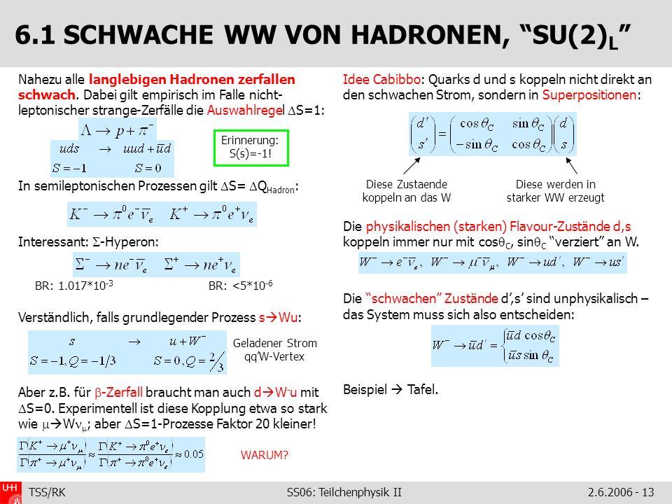 TSS/RK SS06: Teilchenphysik II2.6.2006 - 13 Nahezu alle langlebigen Hadronen zerfallen schwach.