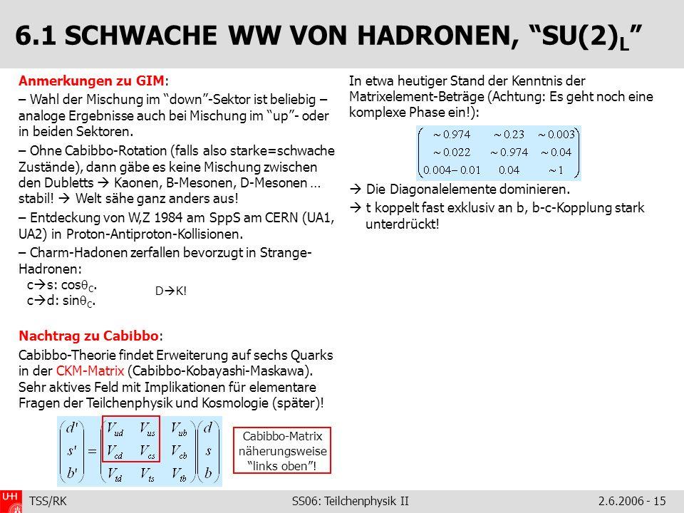 TSS/RK SS06: Teilchenphysik II2.6.2006 - 15 Anmerkungen zu GIM: – Wahl der Mischung im down-Sektor ist beliebig – analoge Ergebnisse auch bei Mischung im up- oder in beiden Sektoren.