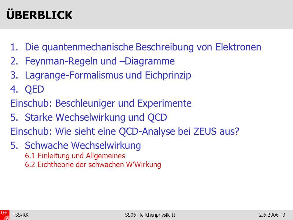 TSS/RK SS06: Teilchenphysik II2.6.2006 - 3 ÜBERBLICK 1.Die quantenmechanische Beschreibung von Elektronen 2.Feynman-Regeln und –Diagramme 3.Lagrange-Formalismus und Eichprinzip 4.QED Einschub: Beschleuniger und Experimente 5.Starke Wechselwirkung und QCD Einschub: Wie sieht eine QCD-Analyse bei ZEUS aus.