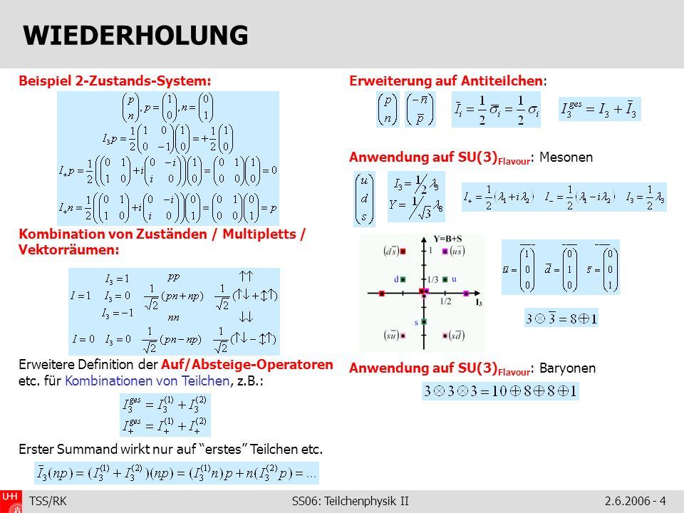 TSS/RK SS06: Teilchenphysik II2.6.2006 - 4 Beispiel 2-Zustands-System: Kombination von Zuständen / Multipletts / Vektorräumen: Erweitere Definition der Auf/Absteige-Operatoren etc.
