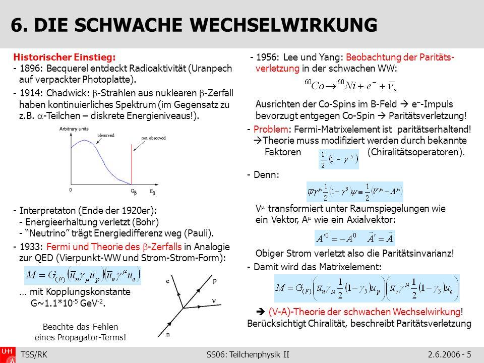 TSS/RK SS06: Teilchenphysik II2.6.2006 - 5 Historischer Einstieg: - 1896: Becquerel entdeckt Radioaktivität (Uranpech auf verpackter Photoplatte).