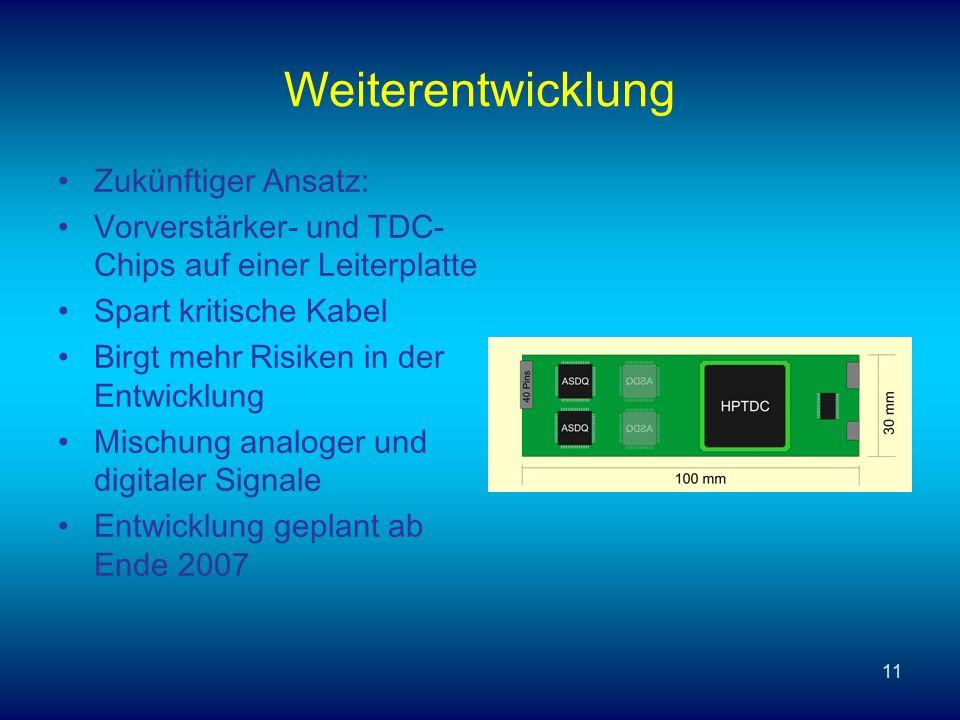 11 Weiterentwicklung Zukünftiger Ansatz: Vorverstärker- und TDC- Chips auf einer Leiterplatte Spart kritische Kabel Birgt mehr Risiken in der Entwicklung Mischung analoger und digitaler Signale Entwicklung geplant ab Ende 2007