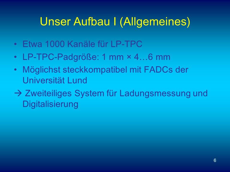 6 Unser Aufbau I (Allgemeines) Etwa 1000 Kanäle für LP-TPC LP-TPC-Padgröße: 1 mm × 4…6 mm Möglichst steckkompatibel mit FADCs der Universität Lund Zweiteiliges System für Ladungsmessung und Digitalisierung