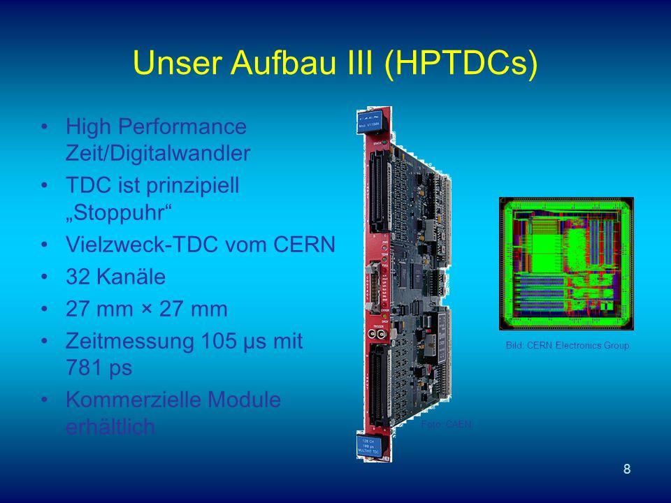 8 Unser Aufbau III (HPTDCs) High Performance Zeit/Digitalwandler TDC ist prinzipiell Stoppuhr Vielzweck-TDC vom CERN 32 Kanäle 27 mm × 27 mm Zeitmessung 105 µs mit 781 ps Kommerzielle Module erhältlich Foto: CAEN Bild: CERN Electronics Group