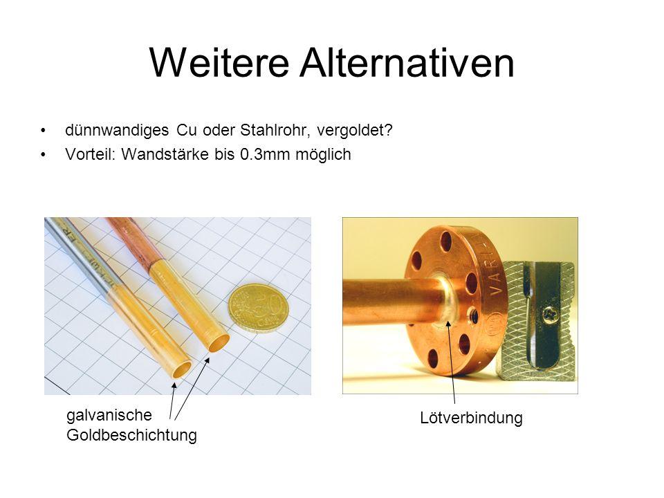 Weitere Alternativen dünnwandiges Cu oder Stahlrohr, vergoldet.