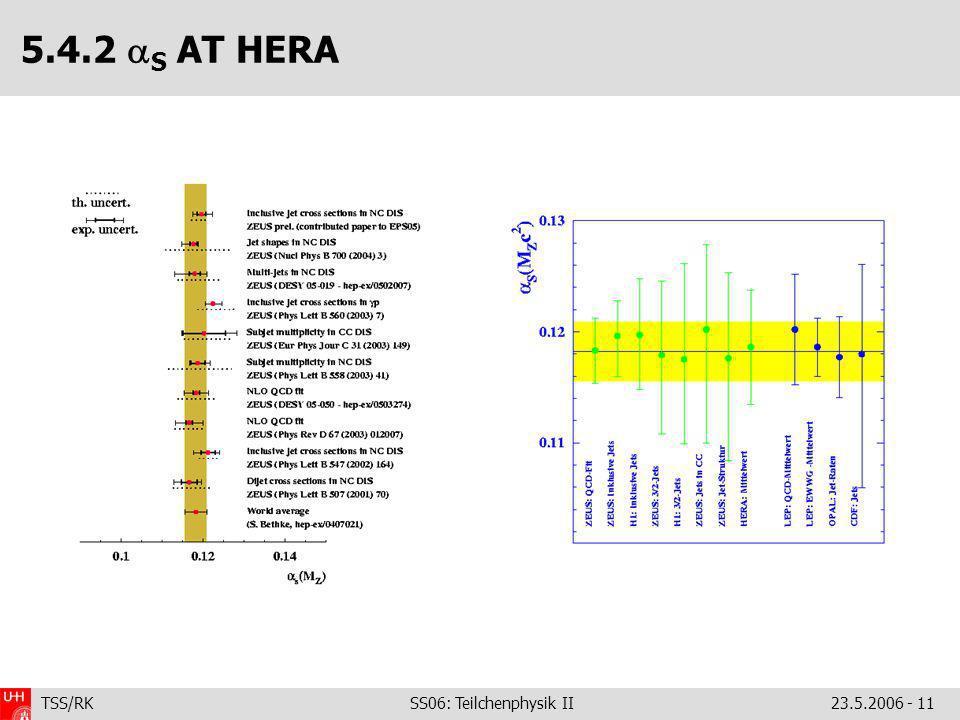 TSS/RK SS06: Teilchenphysik II23.5.2006 - 11 5.4.2 S AT HERA