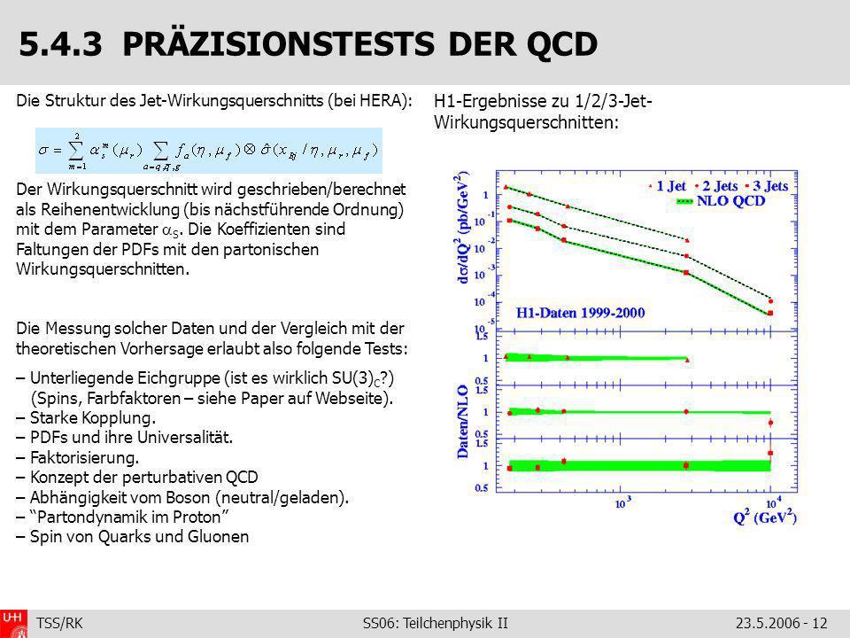 TSS/RK SS06: Teilchenphysik II23.5.2006 - 12 Die Struktur des Jet-Wirkungsquerschnitts (bei HERA): Der Wirkungsquerschnitt wird geschrieben/berechnet als Reihenentwicklung (bis nächstführende Ordnung) mit dem Parameter S.