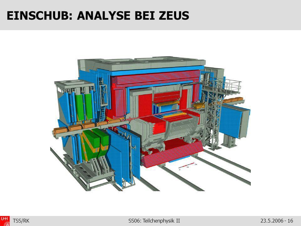 TSS/RK SS06: Teilchenphysik II23.5.2006 - 16 EINSCHUB: ANALYSE BEI ZEUS