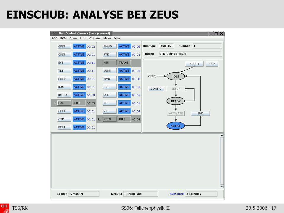 TSS/RK SS06: Teilchenphysik II23.5.2006 - 17 EINSCHUB: ANALYSE BEI ZEUS