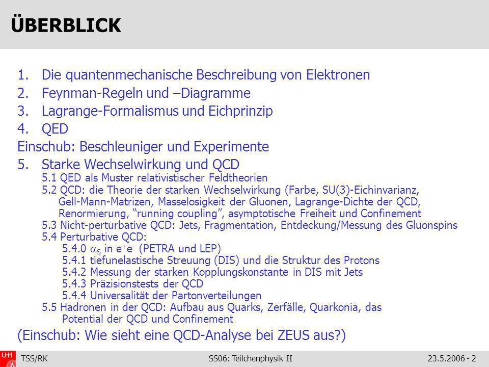 TSS/RK SS06: Teilchenphysik II23.5.2006 - 2 ÜBERBLICK 1.Die quantenmechanische Beschreibung von Elektronen 2.Feynman-Regeln und –Diagramme 3.Lagrange-Formalismus und Eichprinzip 4.QED Einschub: Beschleuniger und Experimente 5.Starke Wechselwirkung und QCD 5.1 QED als Muster relativistischer Feldtheorien 5.2 QCD: die Theorie der starken Wechselwirkung (Farbe, SU(3)-Eichinvarianz, Gell-Mann-Matrizen, Masselosigkeit der Gluonen, Lagrange-Dichte der QCD, Renormierung, running coupling, asymptotische Freiheit und Confinement 5.3 Nicht-perturbative QCD: Jets, Fragmentation, Entdeckung/Messung des Gluonspins 5.4 Perturbative QCD: 5.4.0 S in e + e - (PETRA und LEP) 5.4.1 tiefunelastische Streuung (DIS) und die Struktur des Protons 5.4.2 Messung der starken Kopplungskonstante in DIS mit Jets 5.4.3 Präzisionstests der QCD 5.4.4 Universalität der Partonverteilungen 5.5 Hadronen in der QCD: Aufbau aus Quarks, Zerfälle, Quarkonia, das Potential der QCD und Confinement (Einschub: Wie sieht eine QCD-Analyse bei ZEUS aus )
