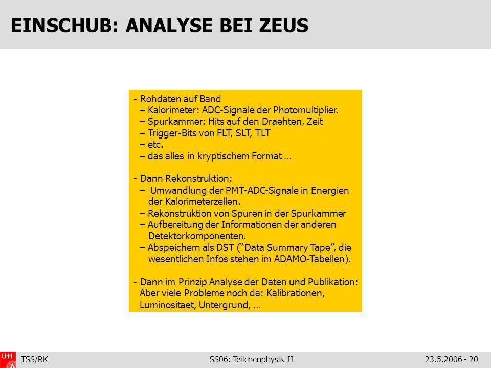 TSS/RK SS06: Teilchenphysik II23.5.2006 - 20 EINSCHUB: ANALYSE BEI ZEUS - Rohdaten auf Band – Kalorimeter: ADC-Signale der Photomultiplier.