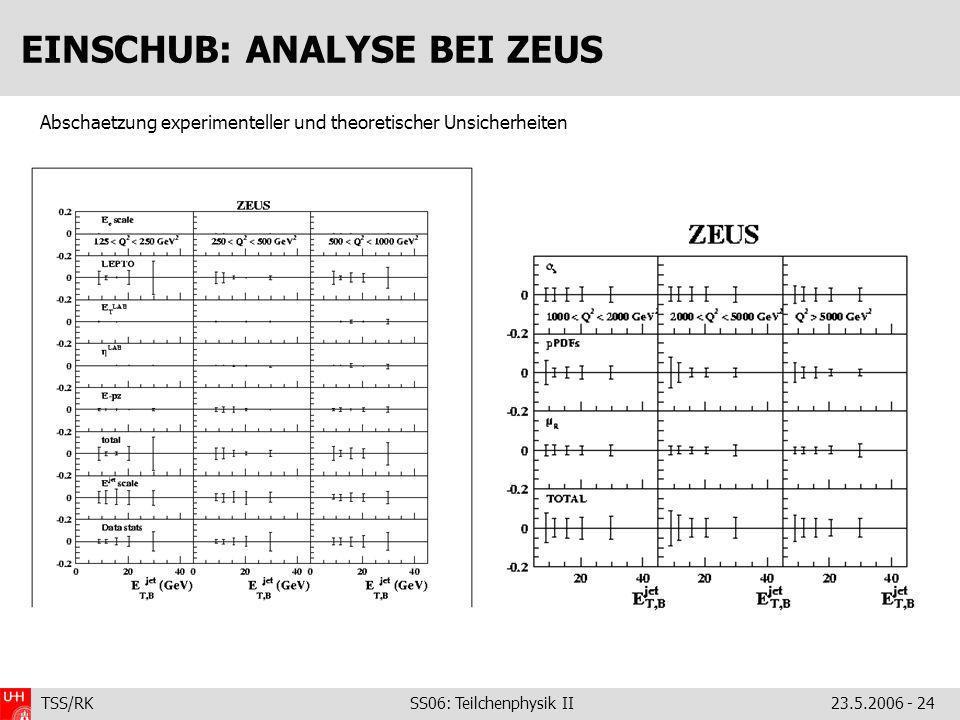 TSS/RK SS06: Teilchenphysik II23.5.2006 - 24 EINSCHUB: ANALYSE BEI ZEUS Abschaetzung experimenteller und theoretischer Unsicherheiten
