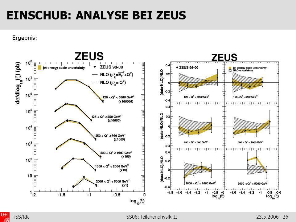 TSS/RK SS06: Teilchenphysik II23.5.2006 - 26 EINSCHUB: ANALYSE BEI ZEUS Ergebnis: