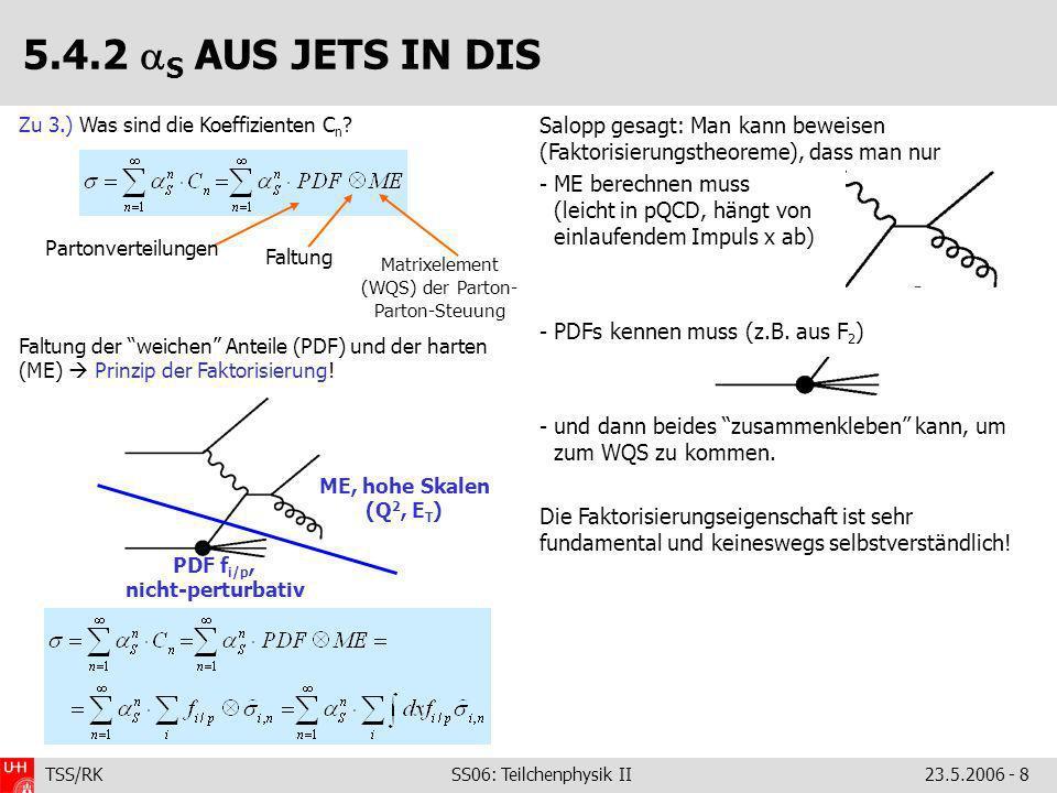 TSS/RK SS06: Teilchenphysik II23.5.2006 - 8 Salopp gesagt: Man kann beweisen (Faktorisierungstheoreme), dass man nur - ME berechnen muss (leicht in pQCD, hängt von einlaufendem Impuls x ab) - PDFs kennen muss (z.B.