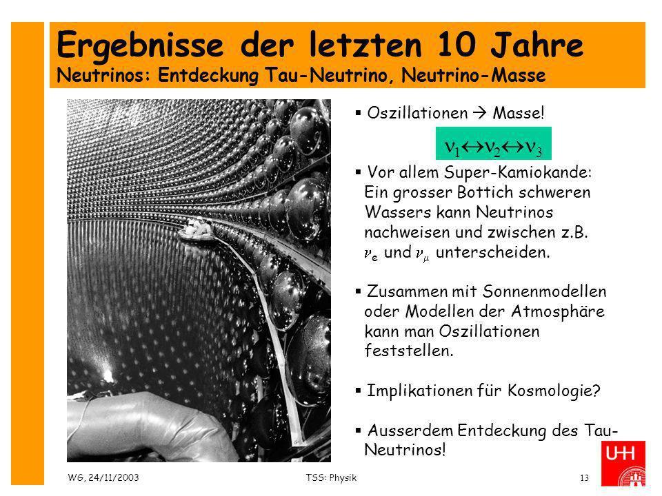 WG, 24/11/2003TSS: Physik13 Oszillationen Masse! Vor allem Super-Kamiokande: Ein grosser Bottich schweren Wassers kann Neutrinos nachweisen und zwisch
