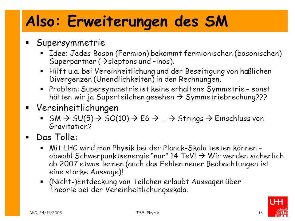 WG, 24/11/2003TSS: Physik16 Also: Erweiterungen des SM Supersymmetrie Idee: Jedes Boson (Fermion) bekommt fermionischen (bosonischen) Superpartner ( s