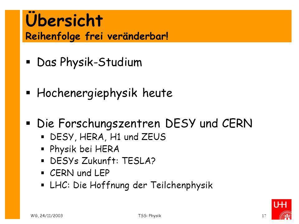 WG, 24/11/2003TSS: Physik17 Übersicht Reihenfolge frei veränderbar! Das Physik-Studium Hochenergiephysik heute Die Forschungszentren DESY und CERN DES