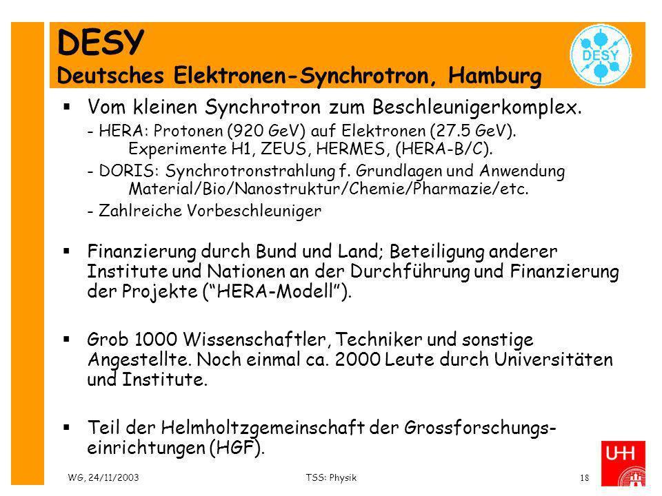 WG, 24/11/2003TSS: Physik18 DESY Deutsches Elektronen-Synchrotron, Hamburg Vom kleinen Synchrotron zum Beschleunigerkomplex. - HERA: Protonen (920 GeV
