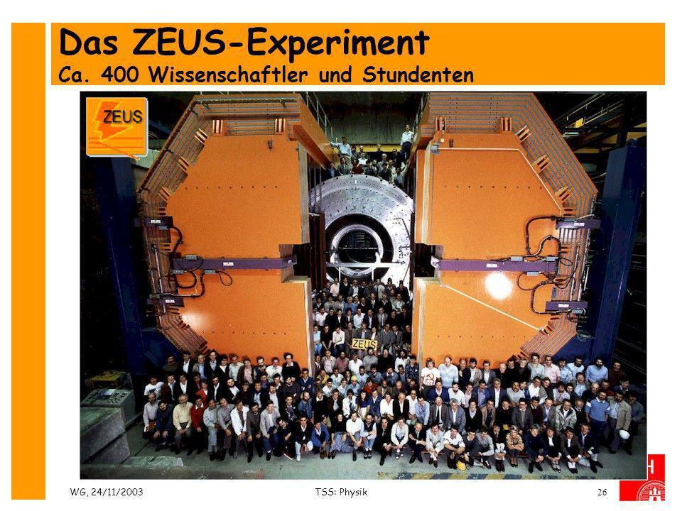 WG, 24/11/2003TSS: Physik26 Das ZEUS-Experiment Ca. 400 Wissenschaftler und Stundenten