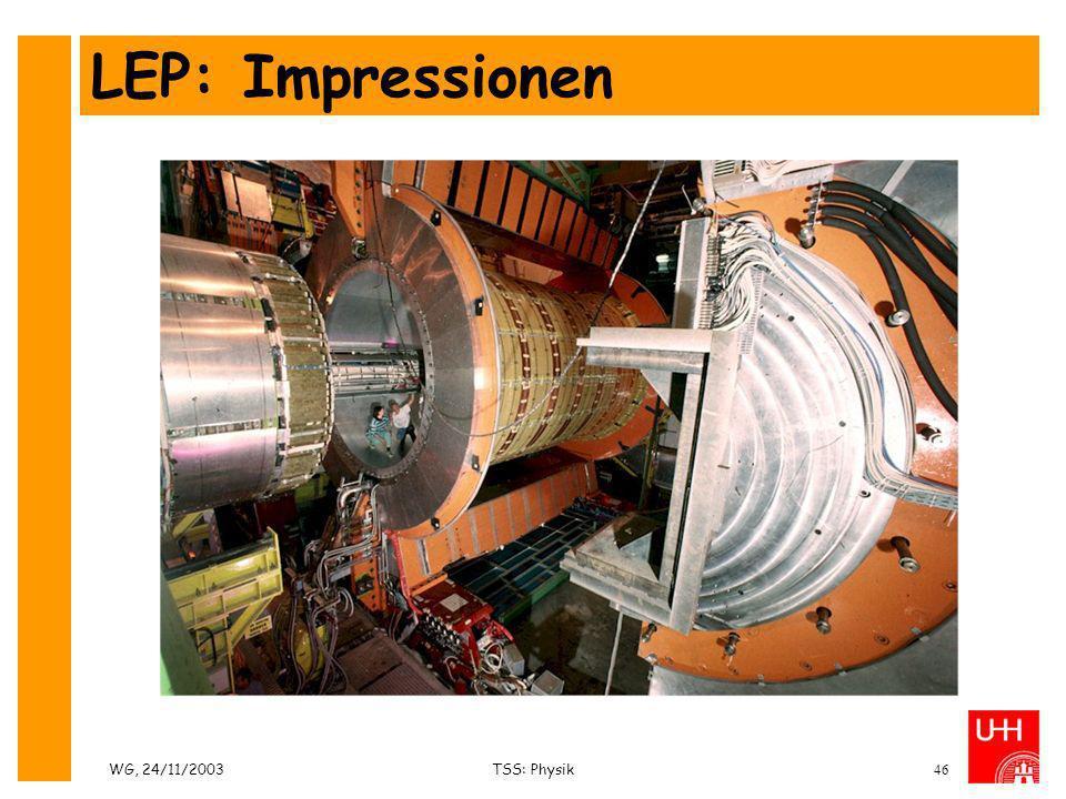 WG, 24/11/2003TSS: Physik46 LEP: Impressionen