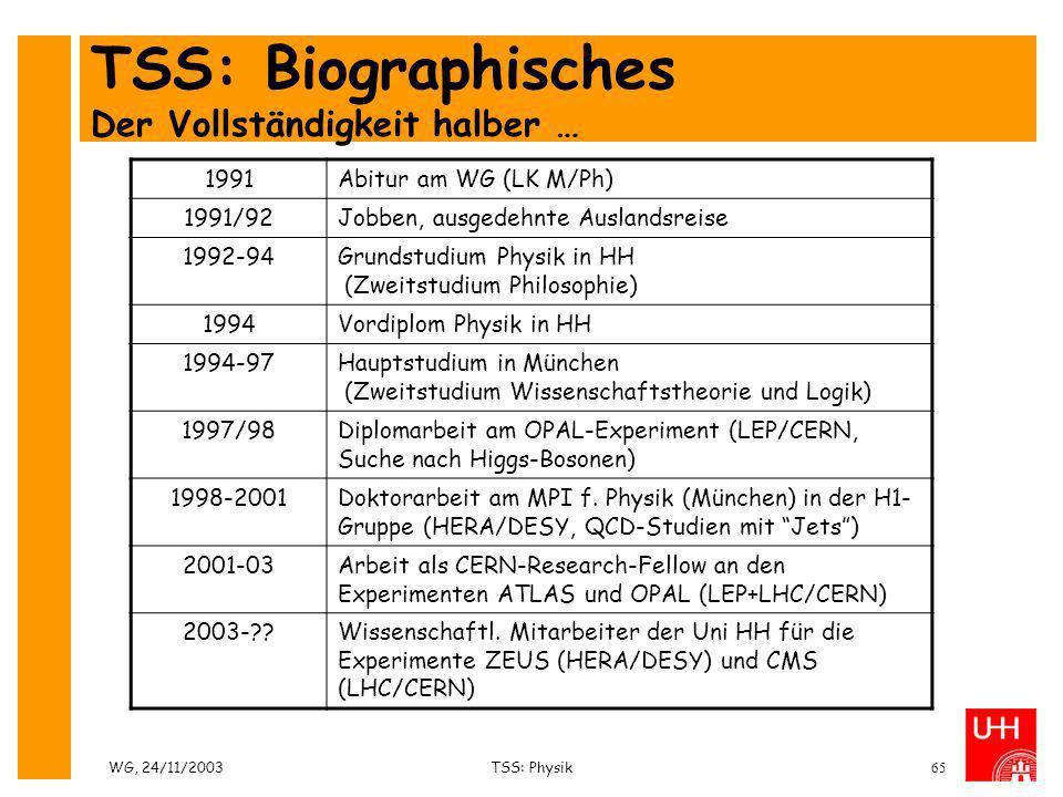 WG, 24/11/2003TSS: Physik65 TSS: Biographisches Der Vollständigkeit halber … 1991Abitur am WG (LK M/Ph) 1991/92Jobben, ausgedehnte Auslandsreise 1992-