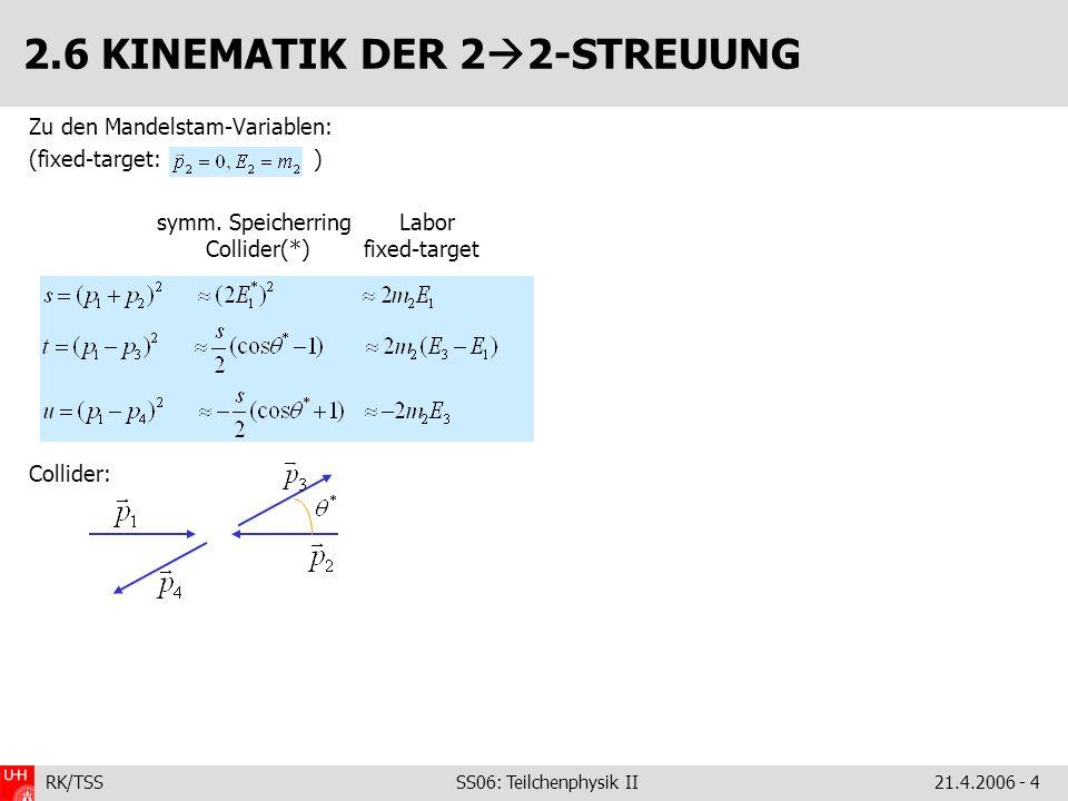 RK/TSS SS06: Teilchenphysik II21.4.2006 - 5 2.7 2 2-STREUUNG: WIRKUNGSQUERSCHNITT Für Berechnung des Wirkungsquerschnitts nötig: 1.|M| 2 – das Matrixelement 2.Einlaufender Teilchenfluss: 3.Zahl der Targetteilchen (pro Volumeneinheit) 4.Dichte der freien Energiezustände 5.