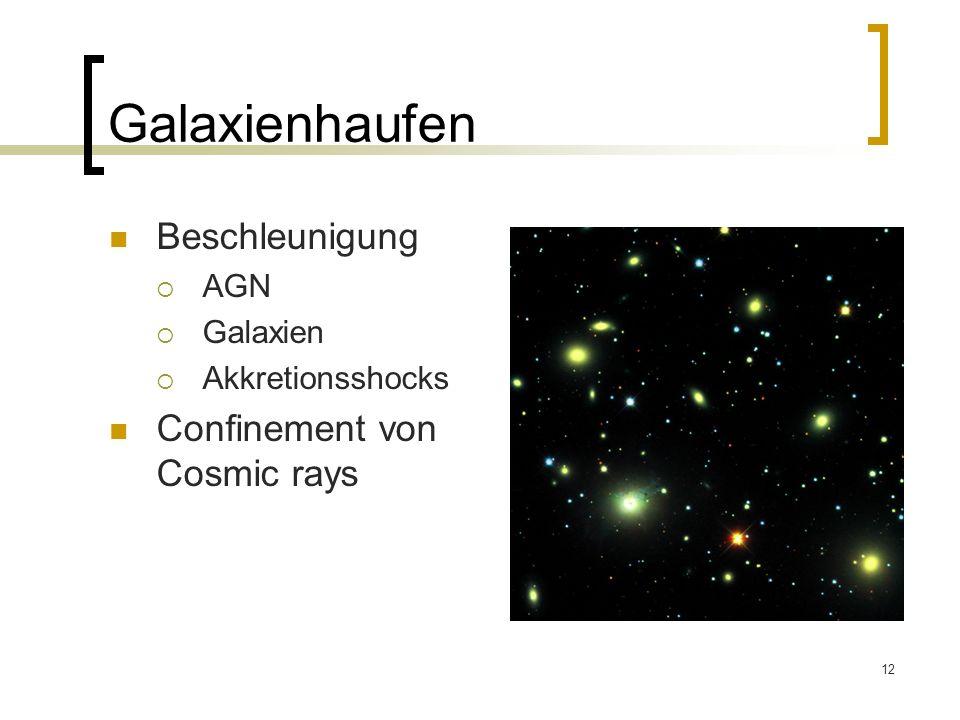 12 Galaxienhaufen Beschleunigung AGN Galaxien Akkretionsshocks Confinement von Cosmic rays