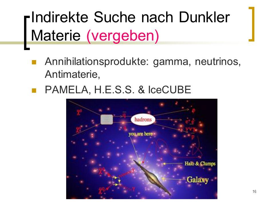 16 Indirekte Suche nach Dunkler Materie (vergeben) Annihilationsprodukte: gamma, neutrinos, Antimaterie, PAMELA, H.E.S.S. & IceCUBE