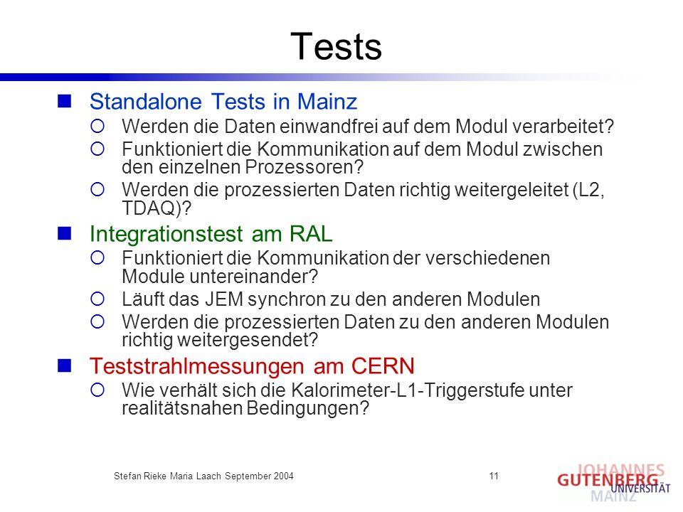 Stefan Rieke Maria Laach September 200411 Tests Standalone Tests in Mainz Werden die Daten einwandfrei auf dem Modul verarbeitet? Funktioniert die Kom