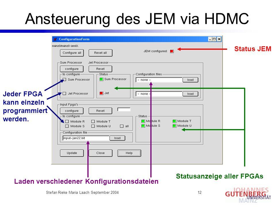 Stefan Rieke Maria Laach September 200412 Ansteuerung des JEM via HDMC Jeder FPGA kann einzeln programmiert werden. Statusanzeige aller FPGAs Status J