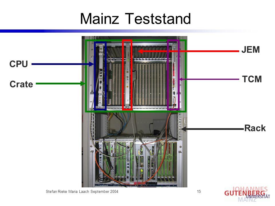 Stefan Rieke Maria Laach September 200415 Mainz Teststand JEM CPU Crate Rack TCM