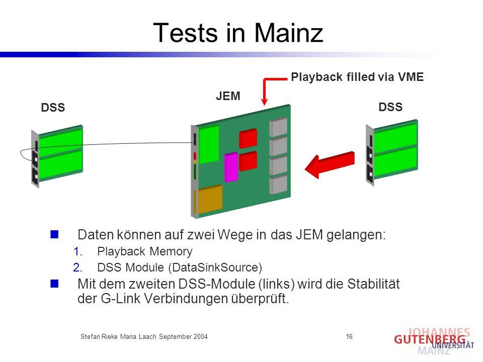 Stefan Rieke Maria Laach September 200416 Tests in Mainz Daten können auf zwei Wege in das JEM gelangen: 1.Playback Memory 2.DSS Module (DataSinkSourc